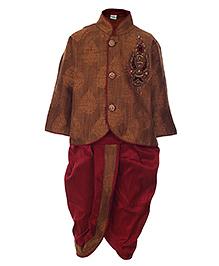 Babyhug Kurta Full Sleeves And Dhoti Suit - Heavy Sequins Embroidery