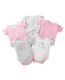 Lollipop Lane Pack Of 5 Embroidered Body Suits Pink - 0 to 3 Months