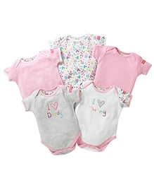 Lollipop Lane Pack Of 5 Embroidered Body Suits Pink - 3 to 6 Months