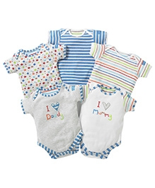 Lollipop Lane Pack Of 5 Embroidered Body Suits Blue - 0 to 3 Months