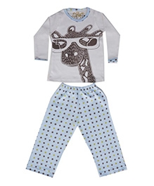 Earth Conscious Full Sleeve Night Suit - Dot Print