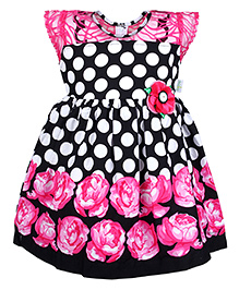 Babyhug Short Sleeves Frock - Polka Dot And Floral Print