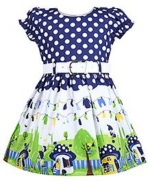 Babyhug Frock Puff Sleeves - Polka Dots Print