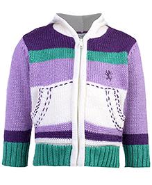 Babyhug Hooded Sweater Full Sleeves - Stripe Prints