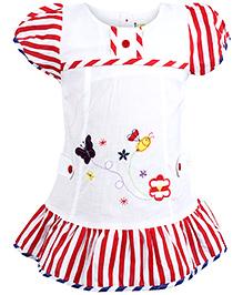 Babyhug Short Sleeve Frock - Embroidery And Stripe Print