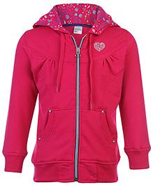 Babyhug Hooded Sweatshirt Full Sleeves - Heart Stone Work