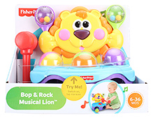 Fisher Price Bop And Rock Musical Lion - Yellow
