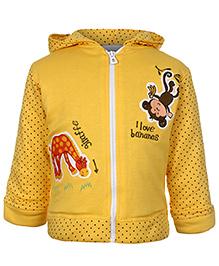 Babyhug Hooded Sweatshirt Full Sleeves - Monkey And Giraffe Patch