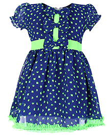Babyhug Short Sleeve Frock With Bow Applique - Teapot Print