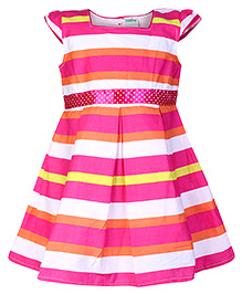 Babyhug Cap Sleeve Frock - Stripe Print
