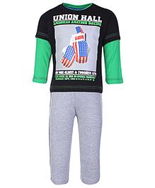 Babyhug Doctor Sleeves T-Shirt And Legging Set - Union Hall Print