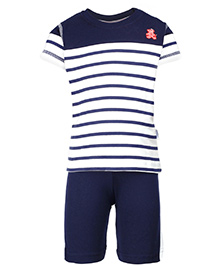 Teddy Half Sleeves T-Shirt And Shorts Set - Stripe Print
