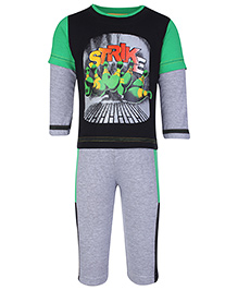 Babyhug Doctor Sleeves T-Shirt And Leggings Set - Strike Print