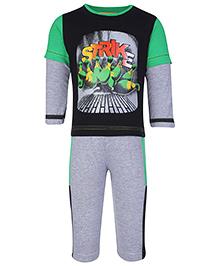 Babyhug Doctor Sleeves T-Shirt And Leggings Set - Strike Print