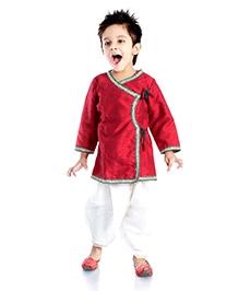 DotnDitto Full Sleeves Angarkha Dhoti Set - Red