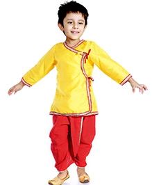 DotnDitto Full Sleeves Angarkha Dhoti Set - Yellow