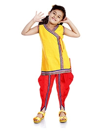 DotnDitto Kurti With Cowl Pants Fusion Style - Yellow And Red - 1 To 2 Years