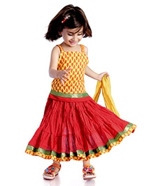 DotnDitto Cotton Ghagra Choli Set - Yellow And Red