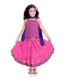DotnDitto Cotton Ghagra Choli Set - Pink