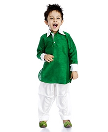 DotnDitto Pathani Kurta Salwar Set - Green