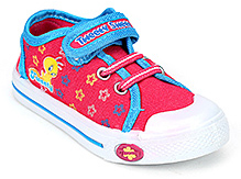 Tweety Canvas Shoes Velcro Closure - Dark Pink and Blue