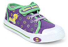 Tweety Canvas Shoes Velcro Closure - Dark Purple and Green
