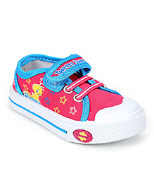 Tweety Canvas Shoes Velcro Closure - Light Pink and Blue