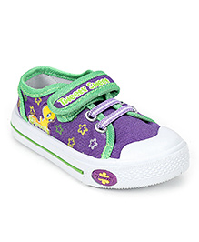 Tweety Canvas Shoes Velcro Closure - Light Purple and Green
