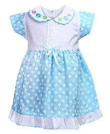 Babyhug Short Sleeve Peter Pan Collar Frock - Floral Print