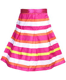Babyhug Pleated Skirt - Multi Color Stripes