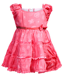 Babyhug Puff Sleeve Frock - Bow Applique