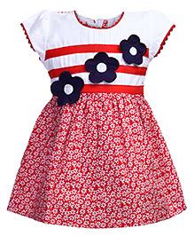 Babyhug Short Sleeves Frock Red - Floral