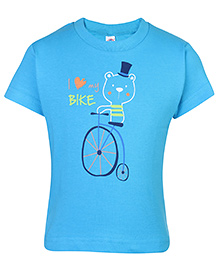 Zero Half Sleeves T-Shirt Dark Blue - Bike Print