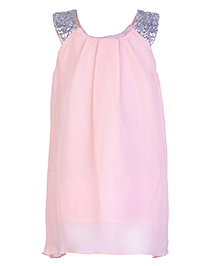 Babyhug Sleeveless Frock Sequin Work - Rose Pink