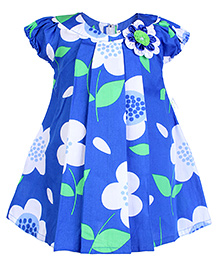 Babyhug Puff Sleeve Pleated Frock - Floral Applique