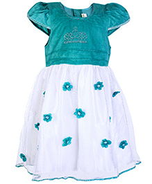 Babyhug Short Sleeve Dress Turquoise - Floral Motifs