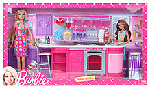 Barbie Cooking Fun Kitchen With Doll - Height 29 Cm - 3 Years +