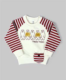 Off White Happy Striped Sweatshirt