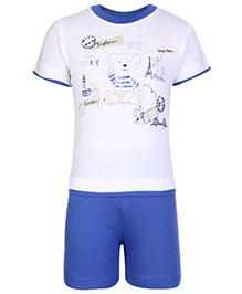 Zero Half Sleeves T-Shirt And Shorts Set - Teddy Print