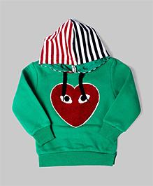 Green Heart Hoodie Sweatshirt