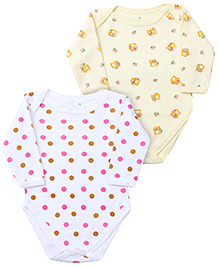 Babyhug Full Sleeve Onesies Dots And Teddy Print - Set of 2
