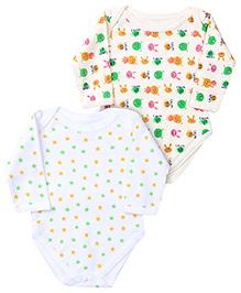 Babyhug Full Sleeve Onesies Stars And Animal Print - Set of 2