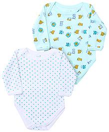 Babyhug Full Sleeve Onesies Dots And Animal Print - Set of 2