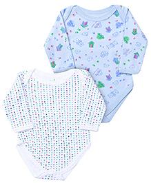 Babyhug Full Sleeve Onesies Dots And Bear Print - Set of 2