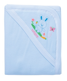 Tolly Joy Baby Hooded Fleece Blanket Blue - Rabbit