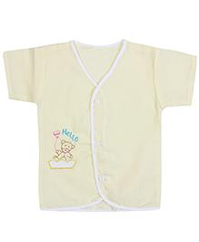 Babyhug Front Open Vest Half Sleeve - Teddy Embroidery