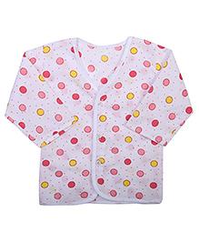 Babyhug Front Open Vest Half Sleeve - Dots Print