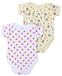 Babyhug Short Sleeve Onesies Dots And Teddy Print - Set of 2