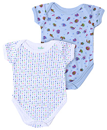 Babyhug Short Sleeve Onesies Dots And Multi Print - Set of 2