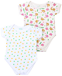 Babyhug Short Sleeve Onesies Stars And Animal Print - Set of 2